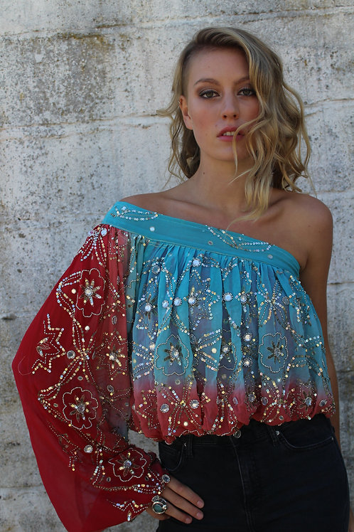 Upcycled Vintage Sari Top - Blue & Red