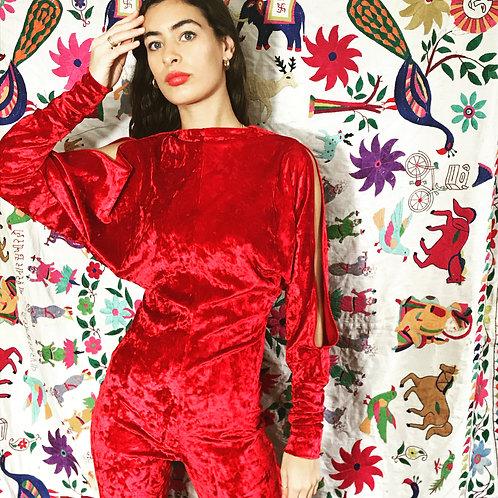 Velvet Jumpsuit - Red or Blue