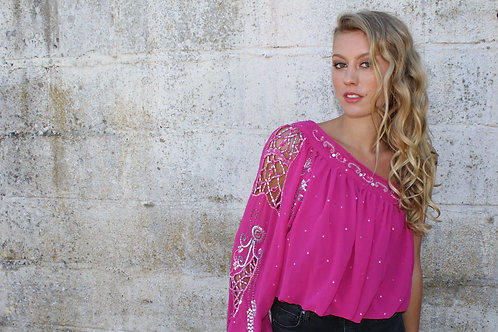 Upcycled Vintage Sari Top - Hot Pink