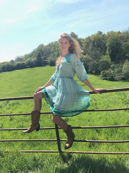 Sissy Cowgirl Dress - Green & White