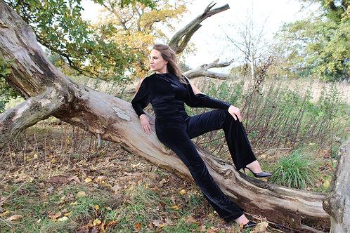 Velvet Jumpsuit - Black