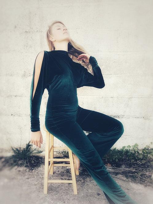 Velvet Jumpsuit - Emerald