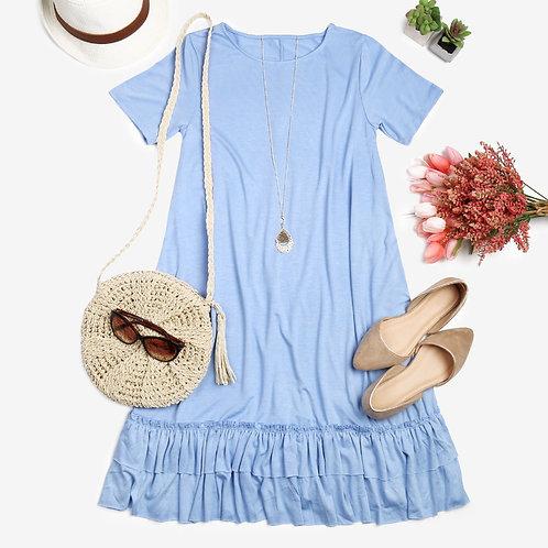 Short Sleeve Ruffled Hem Dress