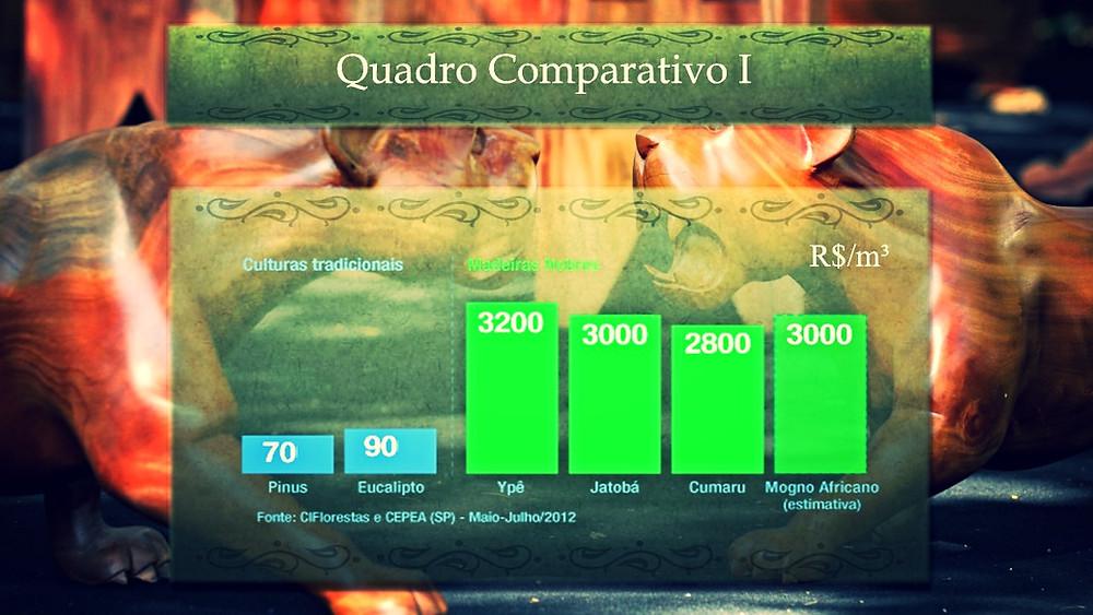 Comparativo de preço de madeiras nobres | Mogno Africano, Ypê, Jatobá, Cumaru, Pinus, Eucalipto