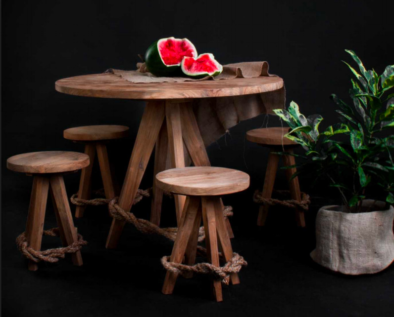 Seken SALLY Table (3CM top) and stool.jp