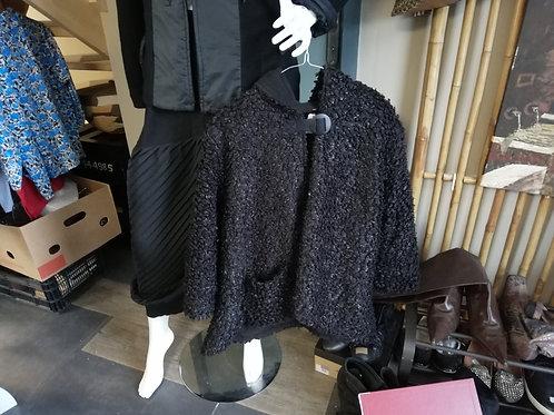 manteau à capuche laine bouclée