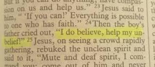 I Believe; Help My Unbelief!