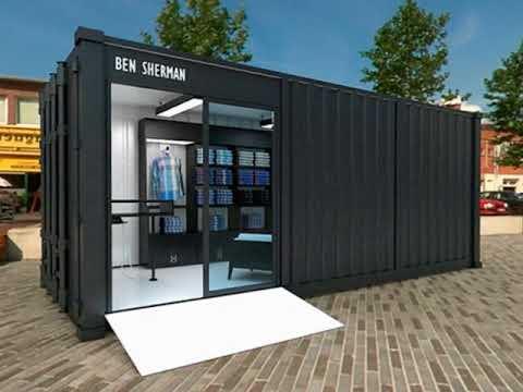 containers aménagés en espace de vente pour professionnels