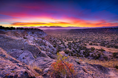 Golden sunrise over Bandelier National M