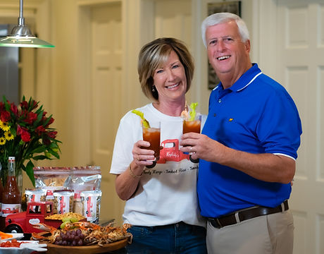 Kay and Ronnie Walker drinking Bloody Marys