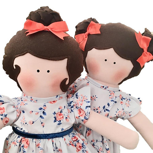 Gêmeas Carol e Bruna  - clássicas bonecas de pano Mimo