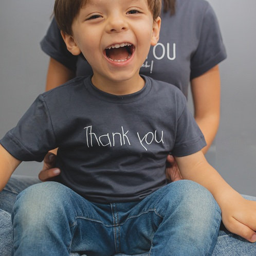 "T-shirt infantil unissex ""Thank you"""
