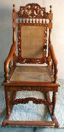 Rocking Chair wood and cane wicker Indonesia colonial