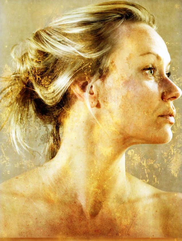 Series: GOLD Covers  60 W x 90 H cm  lambda print/dibond/acrylic Limited edition (7+1)   Model: Nathalie @2016 / Portrait / x47