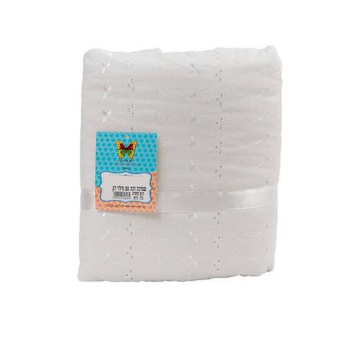 שמיכה רכה במילוי דק דגם תחרה