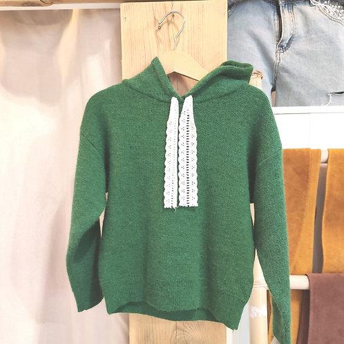 Pull à capuche enfant vert