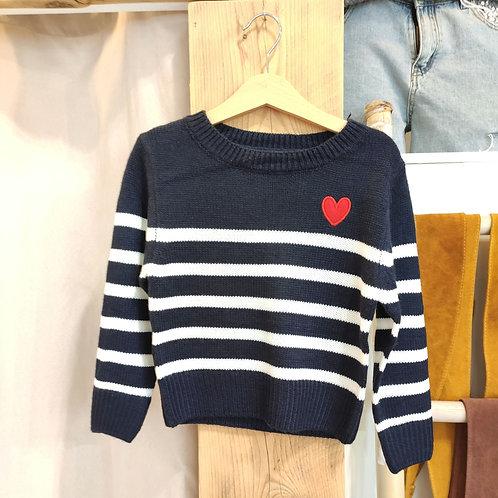 Pull marinière bleu