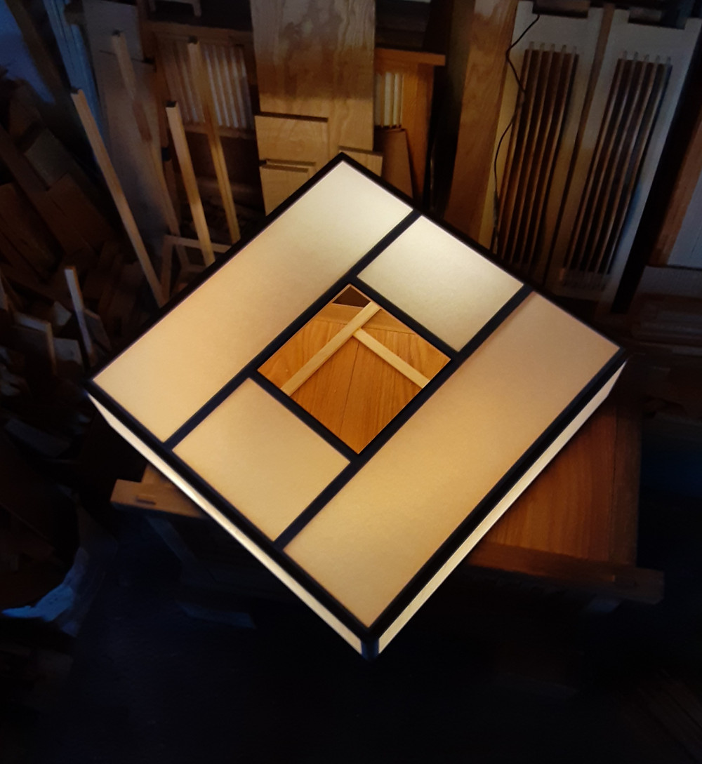 building a ceiling lamp for the tatami room of the Joshua Tree ryokan