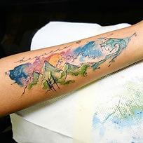 Watercolor scenery mountain tattoo beach