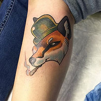 Fox and cigar in bowler hat anthro tattoo