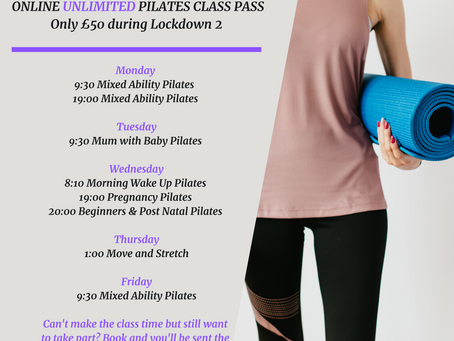 Unlimited Online Pilates Pass only £50 during Lockdown 2