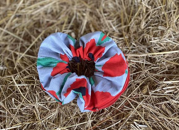 Grey poppy Teri Scrunchie (small)