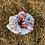 Thumbnail: Blue floral scrunchie (large)