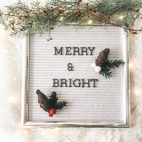 Felt Letterboard Ornaments / Accessories - Pinecone, Evergreen Sprig, & Berries