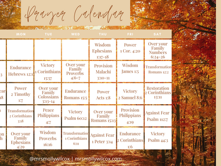 Free Prayer Calendar for October!