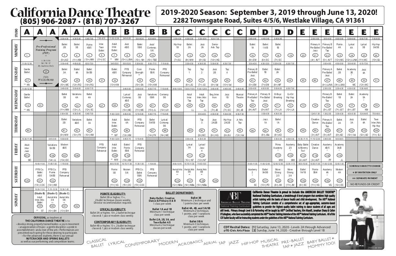 2019/2020 dance classes schedule at California Dance Theatre