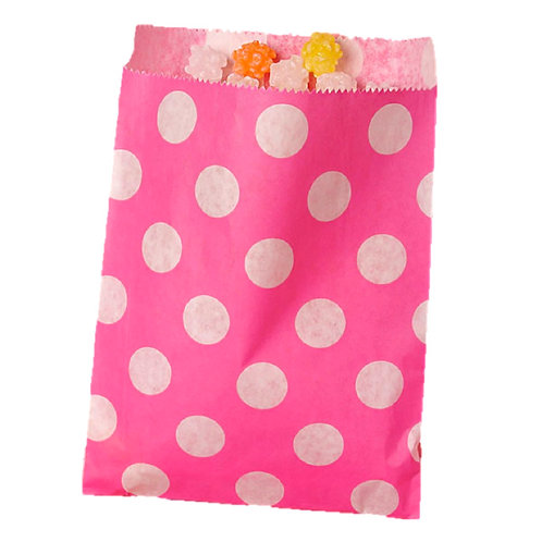 Patterned Bags - LARGE - Hot Pink Dots