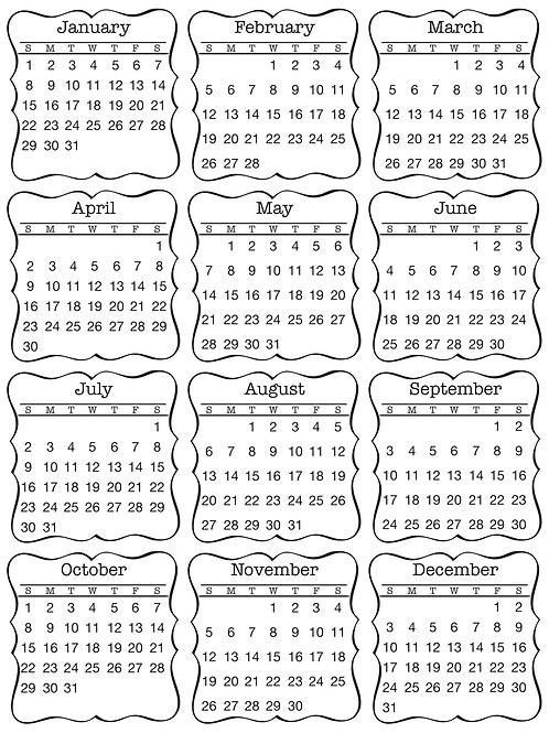 Mini Calendar 2017 Decorative