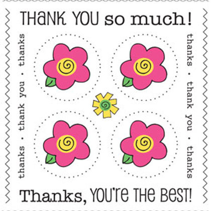 54003 Flower Thank You Stickers PLUS
