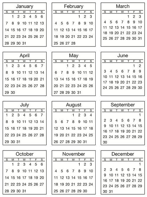 2018 Mini Calendar Standard Roll