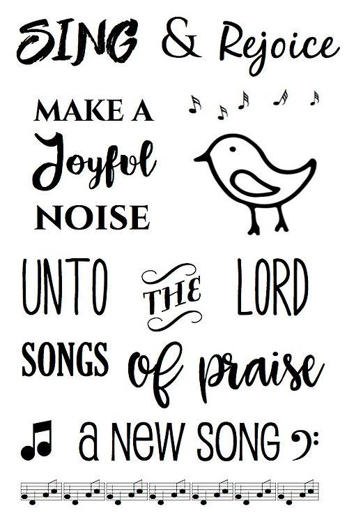 Sing & Rejoice - Bible Journaling Stamp