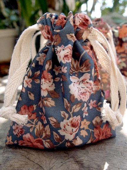 Floral Fabric Bag, Grey/Orange