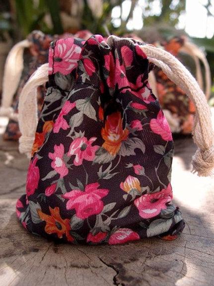 Floral Fabric Bag, Black/Pink