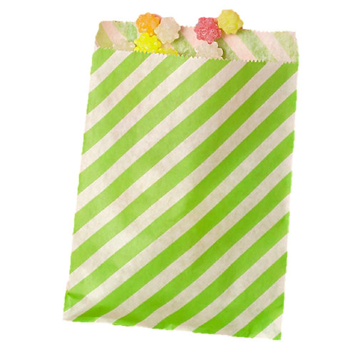 Patterned Bags - LARGE - Lime Green Stripes