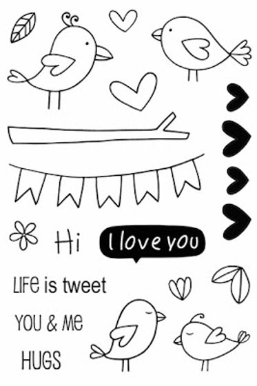 Love  Birds  - Jane's Doodles Stamp
