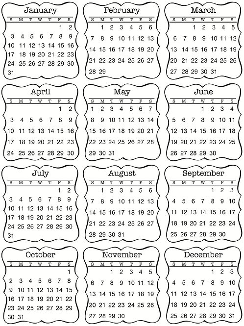 Mini Calendar 2016 Decorative