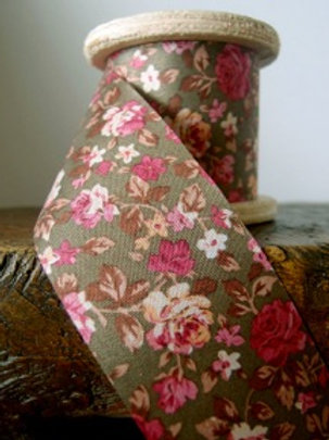 Floral Fabric Ribbon, Olive/Pink