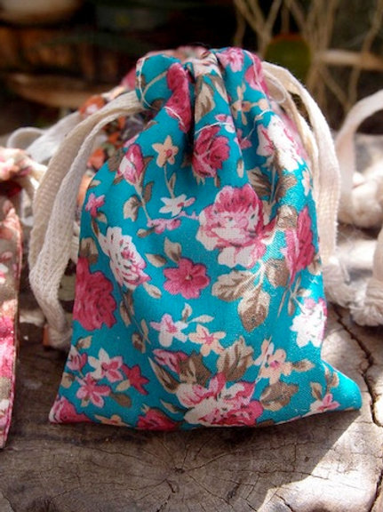 Floral Fabric Bag, Turquoise/Pink