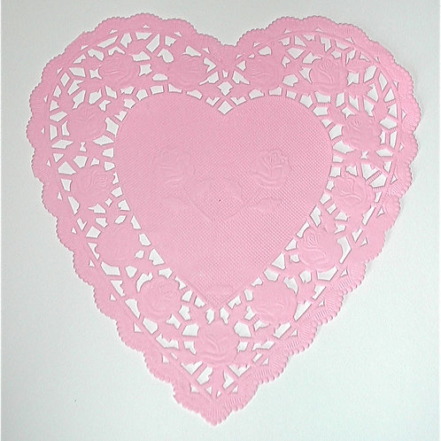 "10917 6"" Pink Heart Doilies Packaged"