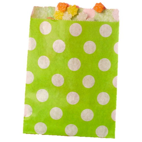 Patterned Bags - LARGE - Lime Green Dots