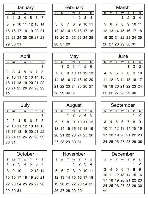 Mini Calendar 2017 Standard