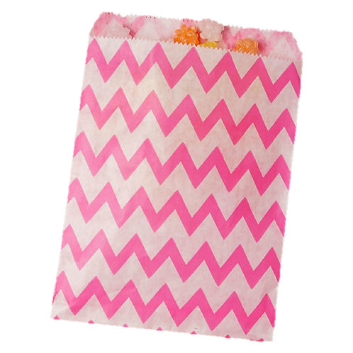 Patterned Bags - LARGE - Hot Pink Chevron