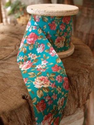 Floral Fabric Ribbon, Turquoise/Pink