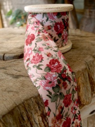 Floral Fabric Ribbon, Light Pink/Pink