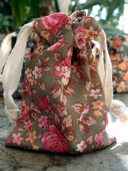 Floral Fabric Bag, Olive/Pink