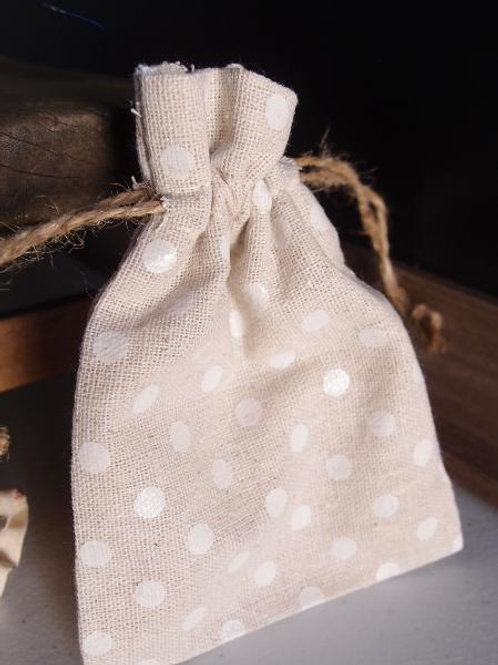 Linen Bag with White Dots